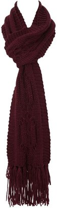 Chunky Cable Knit Scarf Burgundy