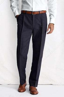 Lands' End Men's Regular Pleat Front Traditional Fit Linen Cotton Trousers