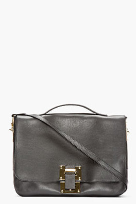 Sophie Hulme Black Leather Flap Messenger Bag