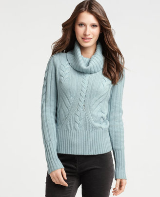 Ann Taylor Woodland Cable Turtleneck Sweater