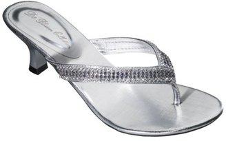 Women's De Blossom Alessia Low Heel Step in Rhinestone Sandal - Silver