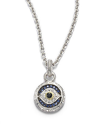Judith Ripka Sapphire, Sterling Silver & 18K Yellow Gold Necklace
