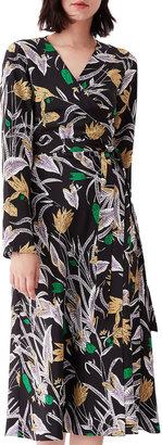Diane von Furstenberg Tilly Floral Printed Silk Wrap Midi Dress