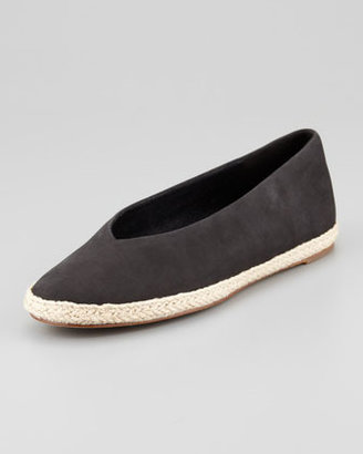 Eileen Fisher Tour Buffed Calfskin Espadrille Flat, Black