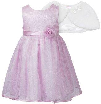 Youngland sparkle dress & faux-fur capelet set - toddler