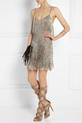 Kate Moss for Topshop Fringed beaded tulle mini dress