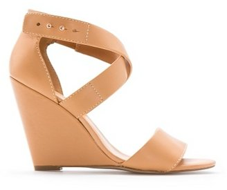 MANGO Touch - Leather Wedge Sandals