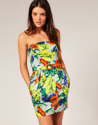 French Connection Tropical Print Strapless Dress