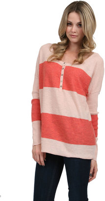 Free People Gold Rush Henley Sweater in Coral/Ball