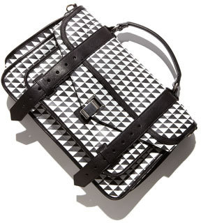 Proenza Schouler PS1 Triangle-Print Medium Satchel Bag, Black/White