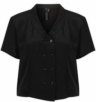 Boutique Double button silk crop