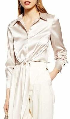 Topshop Satin Tie Front Long Sleeve Blouse