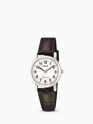 Lorus RRS57UX9 Women's Leather Strap Watch, Brown/White