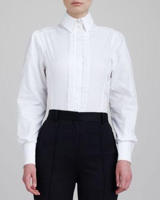 Jason Wu Sleeveless Stand-Collar Shirt, White