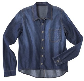 Mossimo Juniors Long Sleeve Button Down Shirt - Dark Vintage Wash