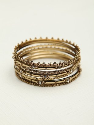 Free People Crystal Hard Bracelet Set