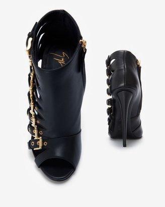 Giuseppe Zanotti Peep Toe Leather Cage Sandal: Black