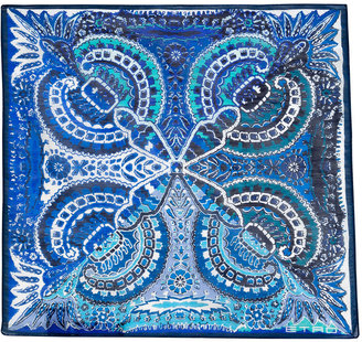 Etro Tonal Pacific Blue Patterned Linen-Silk Pocket Square