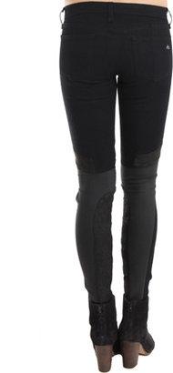 Rag and Bone Rag & Bone Grand Prix Leather-Paneled Skinny Jean