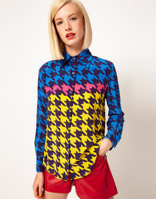 House of Holland Silk Shirt in Hounds Tooth