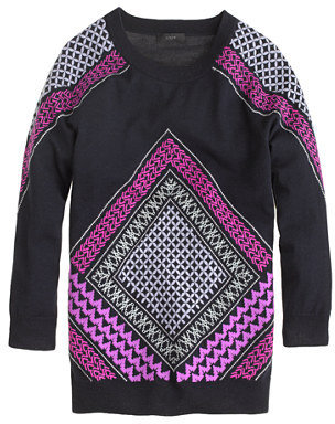 J.Crew Merino Tippi sweater in embroidered tile