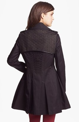 Betsey Johnson Lace Flap Double Breasted Trench Coat (Online Only)