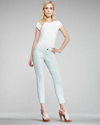 Current/Elliott The Stiletto Mint Leopard-Print Jeans