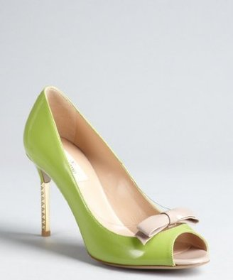Valentino lime green and khaki patent leather studded heels