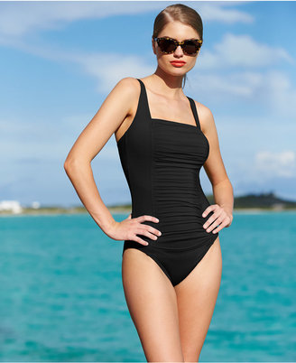 Calvin Klein Solid Pleated One-Piece Swimsuit $79.98 thestylecure.com