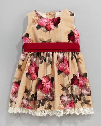 MonnaLisa Velour Floral-Print Dress