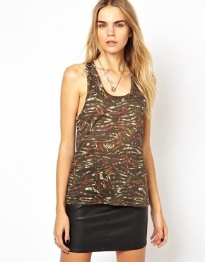 IRO Fine Knit Linen Tank Top in Camo Print - Khaki