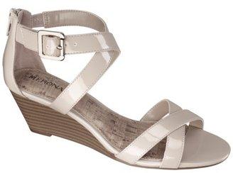 Merona Women's Edda Zip Back Low Wedge Sandal - Taupe Patent