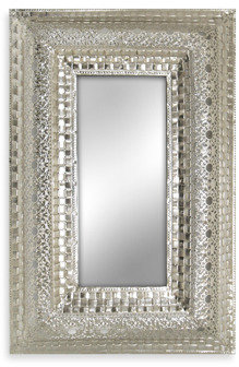Bed Bath & Beyond Silver Nickel Metal Lace Mirror