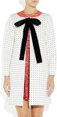 Miu Miu Velvet-trimmed printed cotton coat