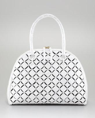Nancy Gonzalez Crocodile Bowler Bag, Black Linen