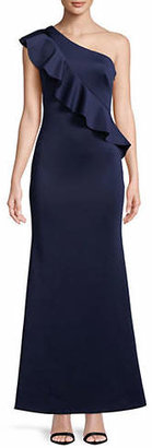 Eliza J Ruffle One-Shoulder Sheath Gown