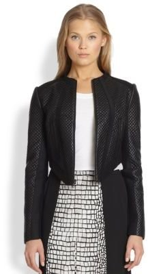 BCBGMAXAZRIA Hansen Cropped Quilted Faux Leather Jacket