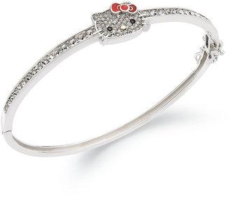 Hello Kitty Sterling Silver Bracelet, Pave Crystal Face Bangle Bracelet