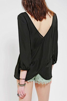 Urban Outfitters Pins And Needles Silky Surplice Back Blouse