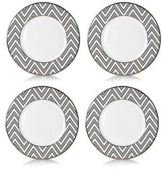 Mikasa Color Studio Gray/Platinum Zigzag Accent Plate, Set of 4