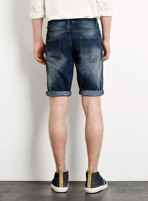 Topman Indigo Cotton Denim Shorts