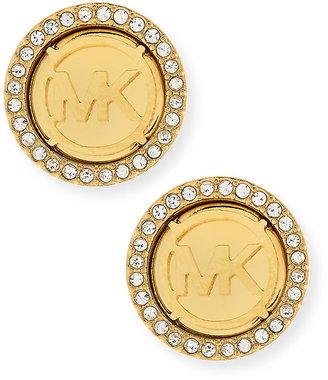 Michael Kors Logo Pave Stud Earrings, Golden