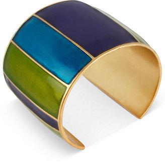 Kenneth Cole New York Bracelet, Gold-Tone Striped Cuff Bracelet