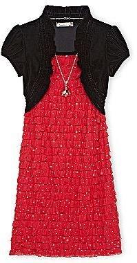 Speechless Eyelash Dress with Velvet Shrug - Girls Plus