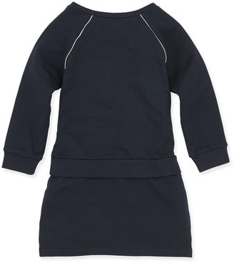 Chloé Raglan Ruffle-Front Dress, Dark Ink, Girls' 2-5