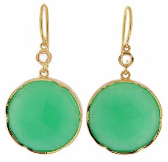 Irene Neuwirth Rose Cut Chrysoprase Earrings - Yellow Gold
