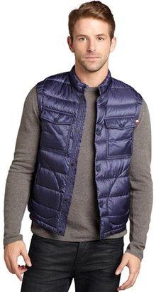 Moncler blue quilted nylon 'Acorus' snap front down vest