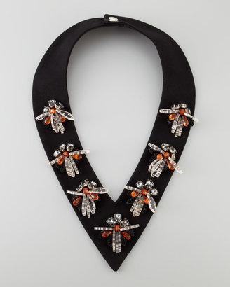 Marni Beaded Collar V-Necklace, Black