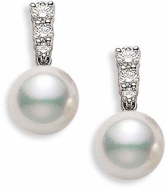 Mikimoto 'Morning Dew' Akoya Cultured Pearl & Diamond Earrings