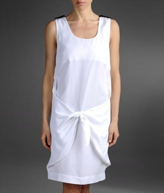 Emporio Armani Loose Fitting Dress In Linen And Viscose With Knot Detail